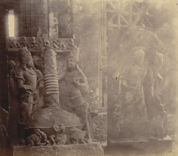 Close view of sculptures (Kurmavatara and Nagakanya) in the pillared hall, Pathari, Bhopal State